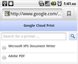 Google Cloud Print Android Gmail